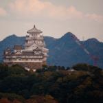 姫路城を高台から望む名古山霊苑(2014年11月14日)