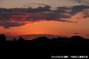 03_山・雲の影に隠れた夕日